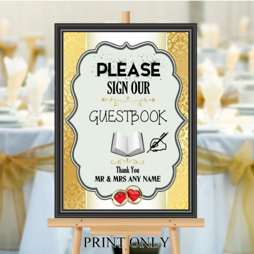 Personalised Wedding Please sign our Guest book Sign Poster Banner N194